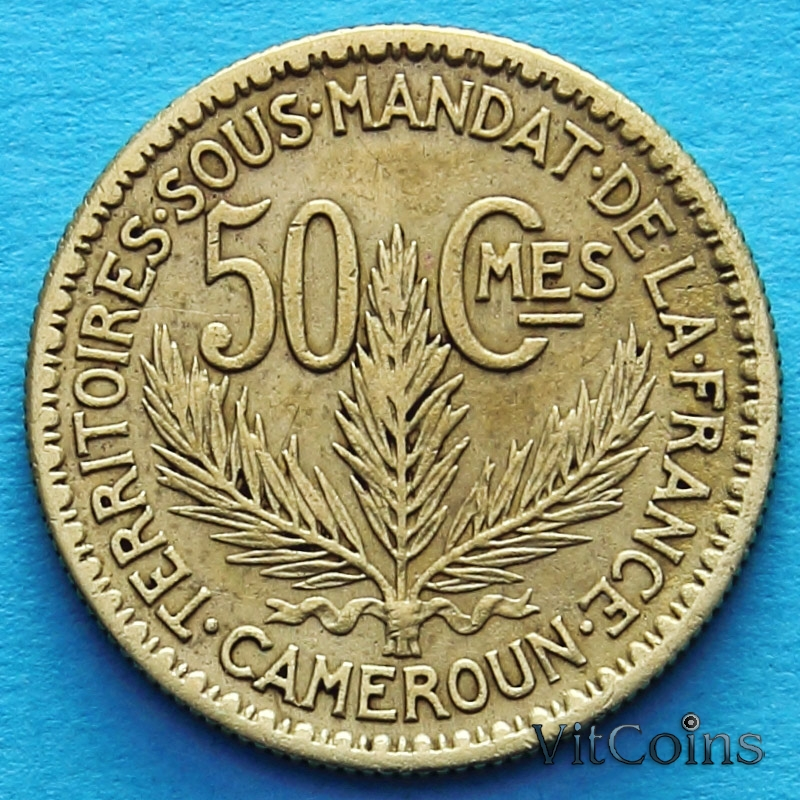 Монета Камеруна 50 сантимов 1925 год.