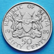 Кения 50 центов 1978-1989 год.