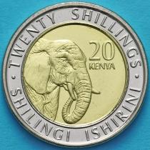 Кения 20 шиллингов 2018 год. Слон.