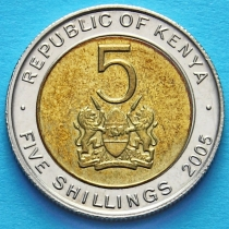 Кения 5 шиллингов 2005 год.