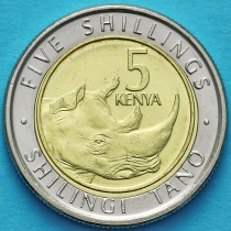 Кения 5 шиллингов 2018 год. Носорог.