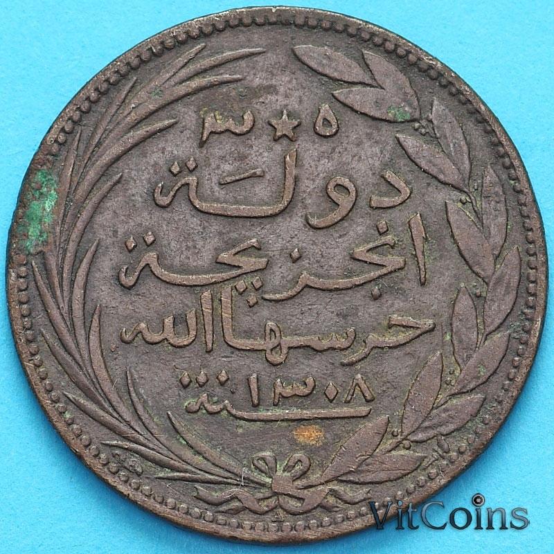 Монета Коморские острова 5 сантим 1891 год. Факел. №2