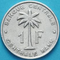 Бельгийское Конго (Руанда-Урунди) 1 франк 1959 год. VF/F
