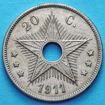 Бельгийское Конго 20 сантим 1911 год.