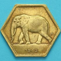 Бельгийское Конго 2 франка 1943 год. Слон.