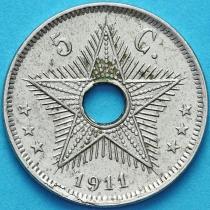 Бельгийское Конго 5 сантим 1911 год.