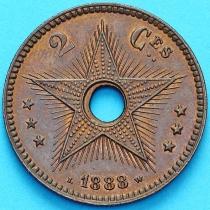 Бельгийское Конго 2 сантима 1888 год.