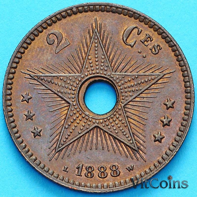 Монета Бельгийское Конго 2 сантима 1888 год.