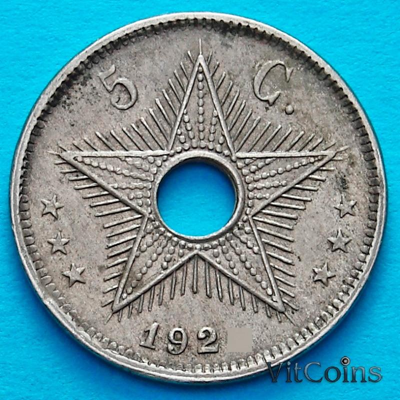 Монета Бельгийское Конго 5 сантим 1925 год.