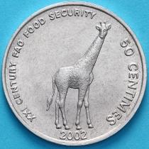 Конго 50 сантим 2002 год. Жираф.