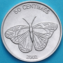 Конго 50 сантим 2002 год. Бабочка