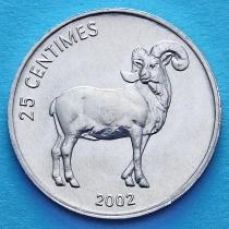 Конго 25 сантим 2002 год. Баран.