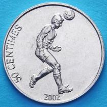 Конго 50 сантим 2002 год. Футболист.