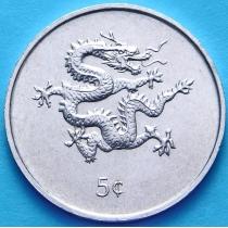 Либерия 5 центов 2000 год. Дракон, Миллениум.