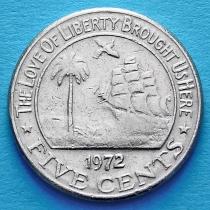 Либерия 5 центов 1972 год.