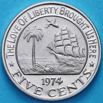 Либерия 5 центов 1974 год. Proof