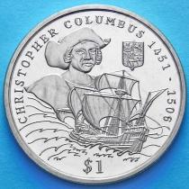 Либерия 1 доллар 1999 год. Христофор Колумб