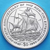 Либерия 1 доллар 1997 год. Кон-Тики
