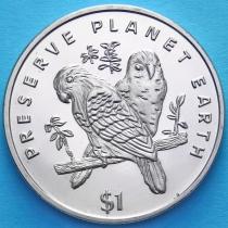 Либерия 1 доллар 1996 год. Неразлучники