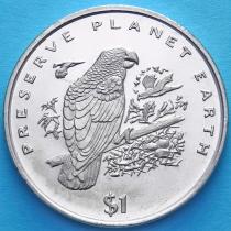 Либерия 1 доллар 1996 год. Серый попугай