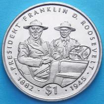 Либерия 1 доллар 1995 год. Рузвельт