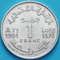 Марокко Французское 1 франк 1951 год. XF
