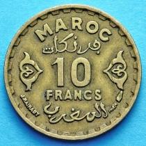 Лот 10 монет Французского Марокко 10 франков 1952 год.