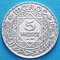 Марокко 5 франков 1933 год. Серебро.
