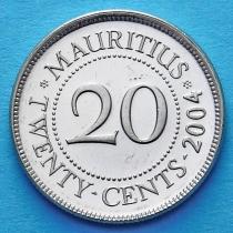 Лот 10 монет. Маврикий 20 центов 1987-2012 год.