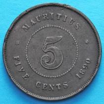 Маврикий 5 центов 1890 год.