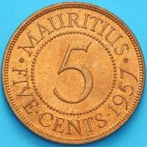 Маврикий 5 центов 1957 год.