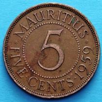 Маврикий 5 центов 1959 год.