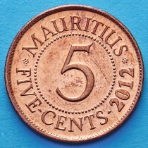 Маврикий 5 центов 1987-2012 год.