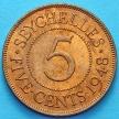Монета Сейшельских островов 5 центов 1948 год.