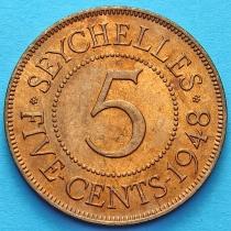 Сейшельские острова 5 центов 1948 год.