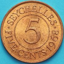 Сейшельские острова 5 центов 1968 год.