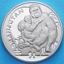 Сьерра-Леоне 1 доллар 2010 год. Орангутан