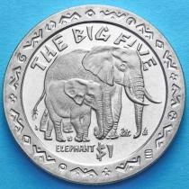 Сьерра-Леоне 1 доллар 2001 год. Большая пятерка. Слон.
