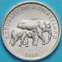 Сомалиленд 5 шиллингов 2005 год. Слоны.