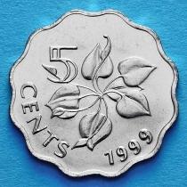 Свазиленд 5 центов 1999-2007 год. Лилия Арум. Немагнитная.