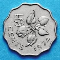 Свазиленд 5 центов 1974 год. Немагнитная.