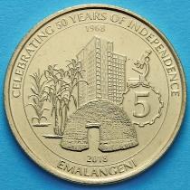 Свазиленд 5 эмалангени 2018 год. 50 лет независимости.