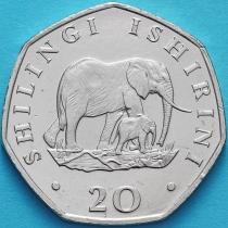 Танзания 20 шиллингов 1992 год. Слоны.