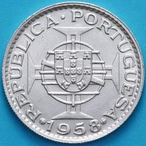Тимор 6 эскудо 1958 год. Серебро.