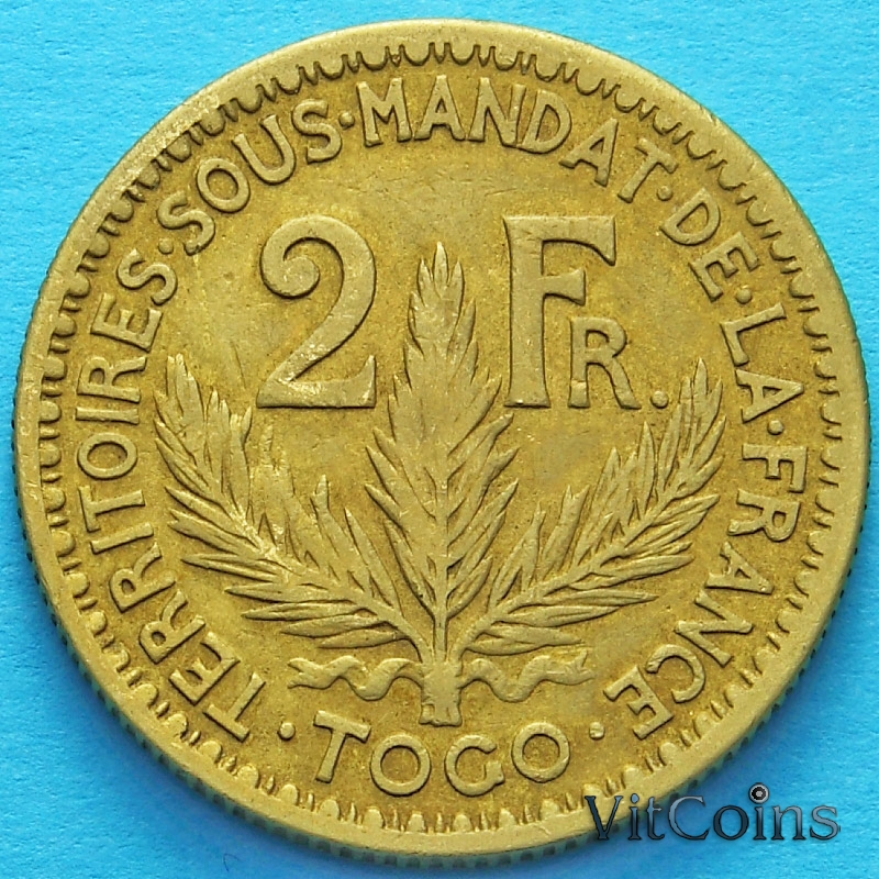 Монета Французского Того 2 франка 1924 год.