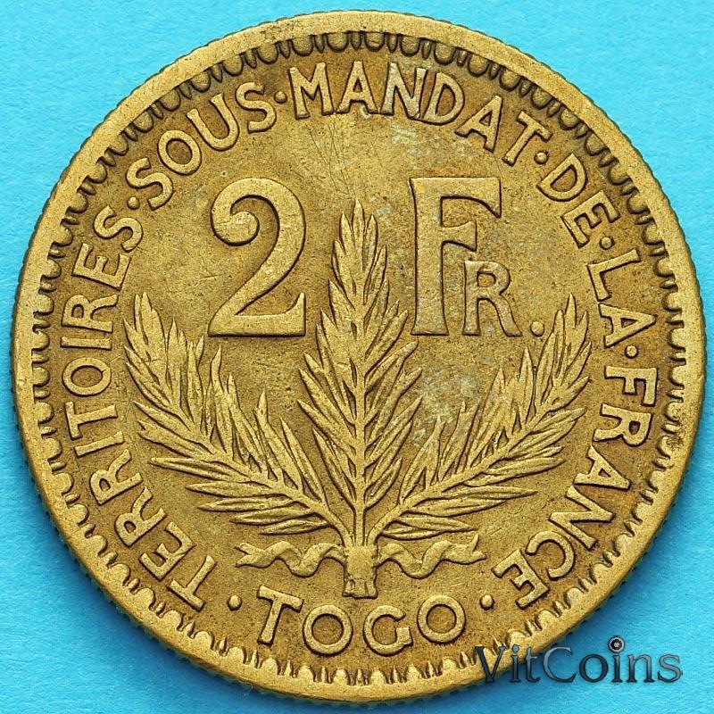 Монета Французское Того 2 франка 1925 год. №5