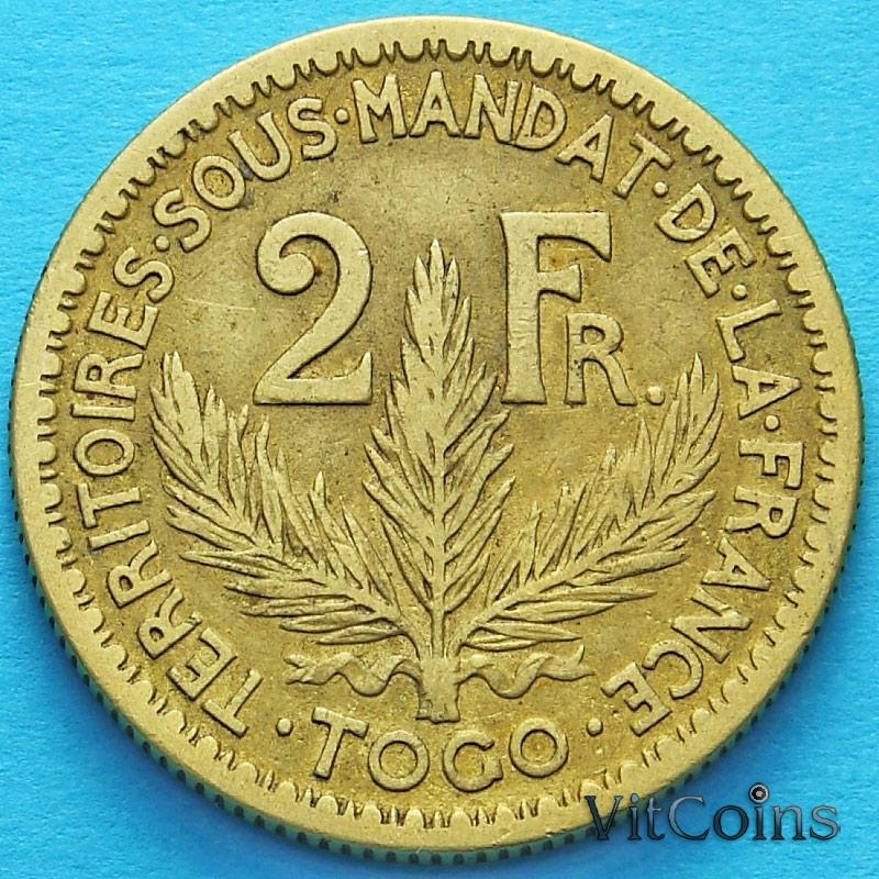 Монета Французского Того 2 франка 1924 год. №2
