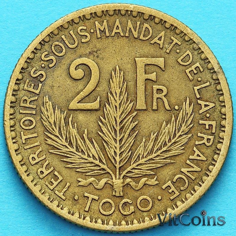 Монета Французское Того 2 франка 1925 год. №6