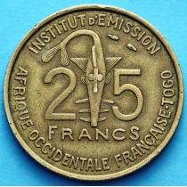 Французское Того 25 франков 1957 год.