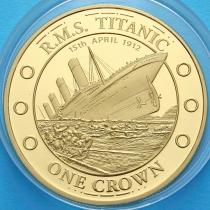 Тристан Да Кунья 1 крона 2012 год. Титаник, крушение.